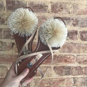 Zara Nude Pom-Pom Sandal